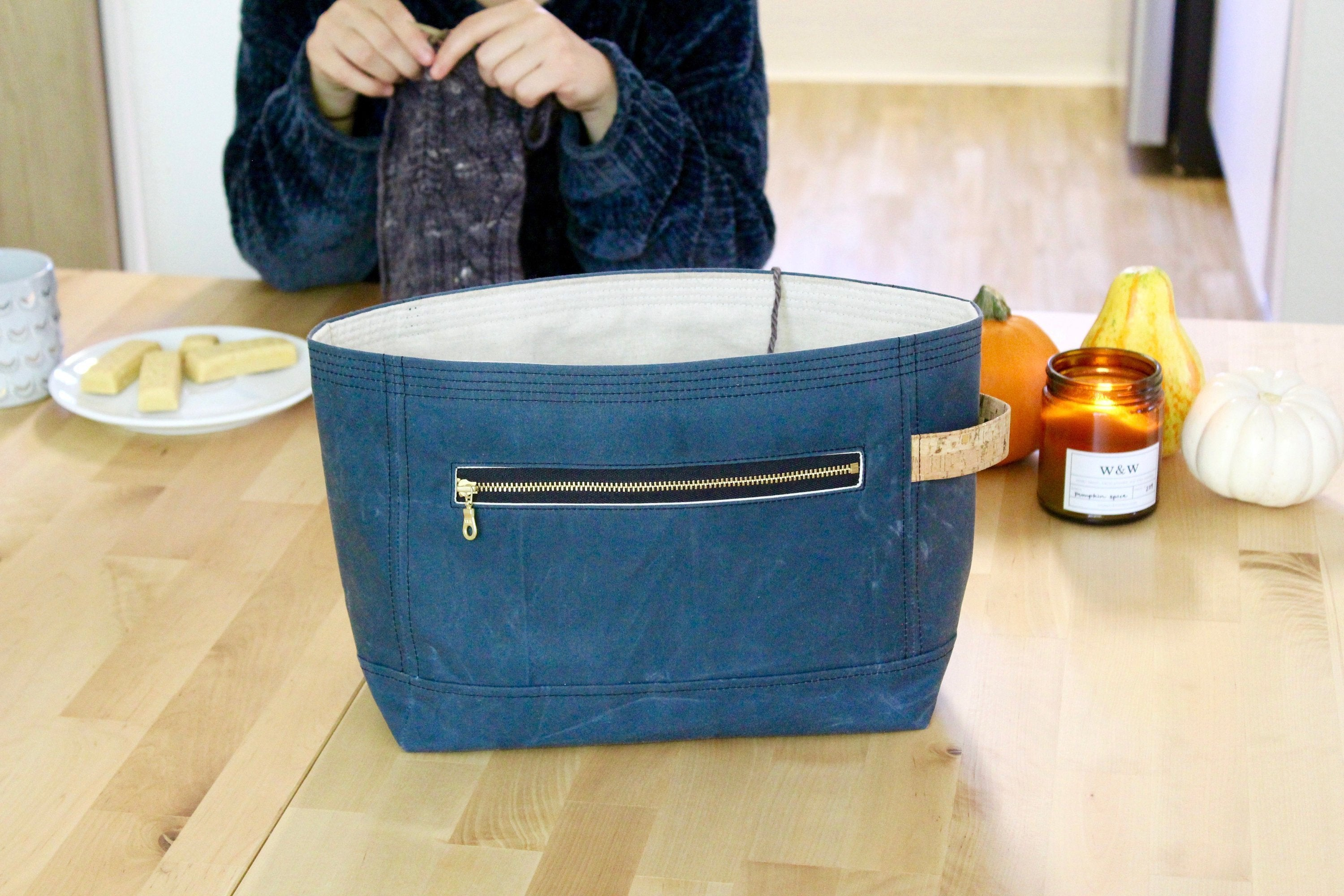 Project Bag | Orion Blue Waxed Canvas Niffin Bag