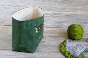 Project Bag | Cypress Green Waxed Canvas Niffin Bag