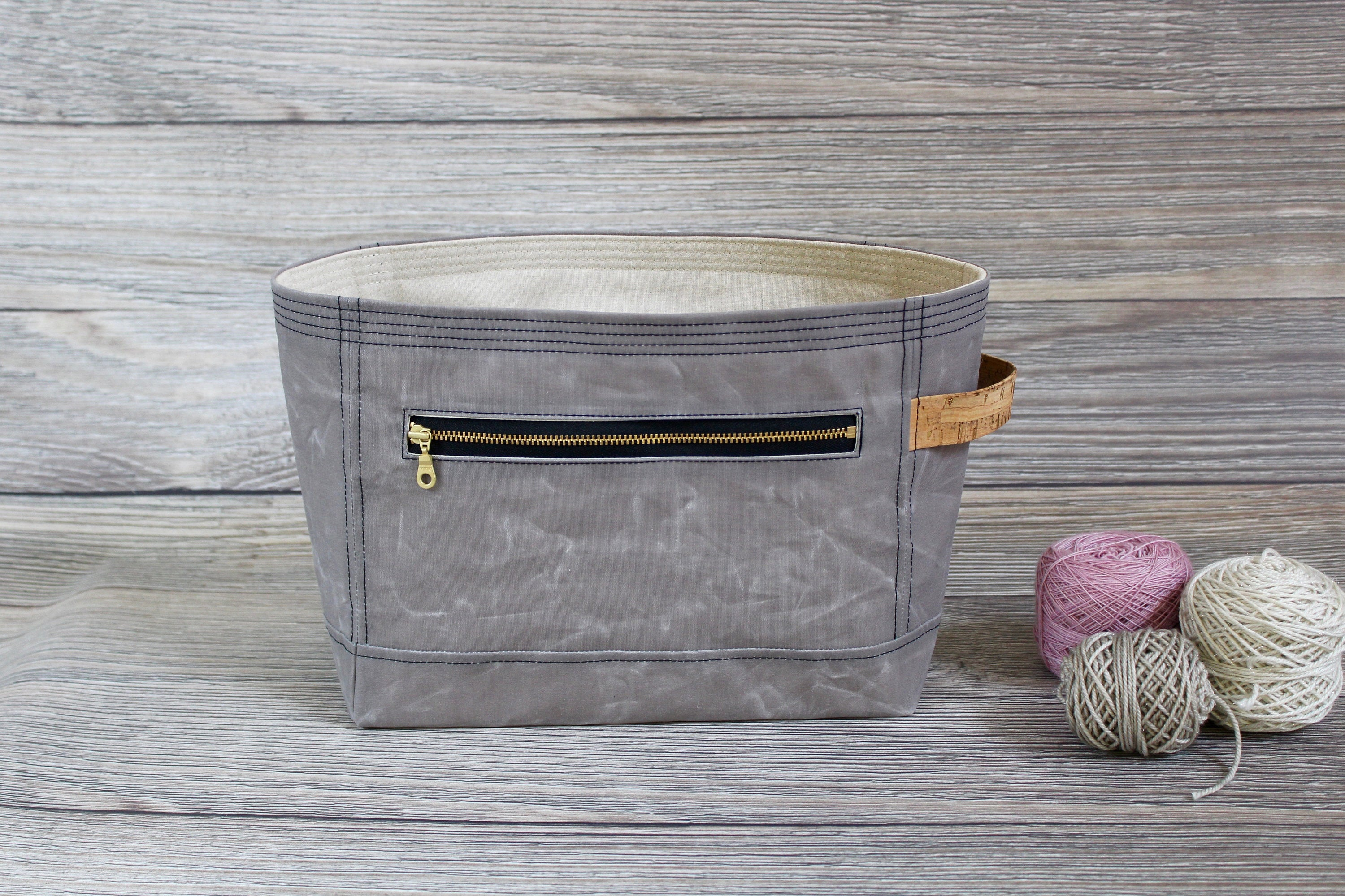Project Bag | Dove Grey Waxed Canvas Niffin Bag