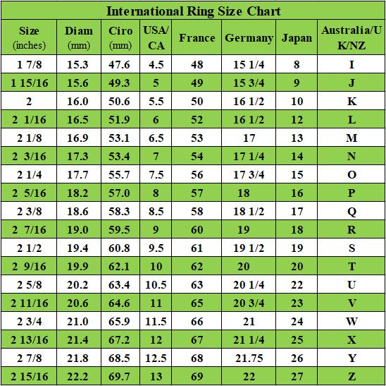Ring Size Chart - Jewmara Jewelry