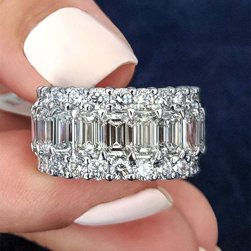 Gorgeous Sterling Silver Tripe Row Emerald Cut Women's Wedding Band