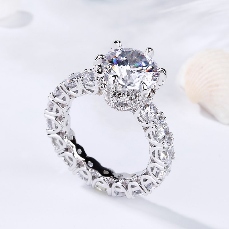 Eternity 4.0 CT Round Cut White Sapphire Sterling Silver Engagement Ring