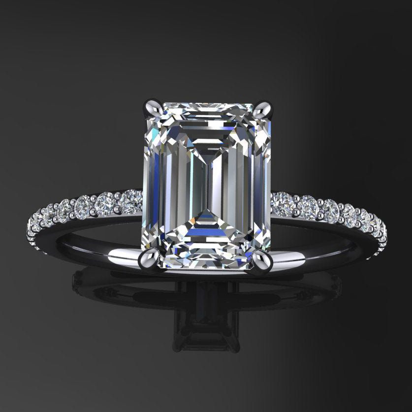 Gorgeous 2.0 Ct Emerald Cut Sterling Silver Women's Engagement Ring