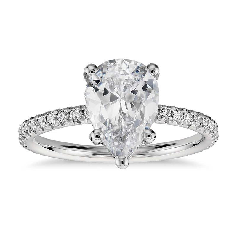 Exquisite 2.0 Ct Pear Cut Sterling Silver Engagement Ring