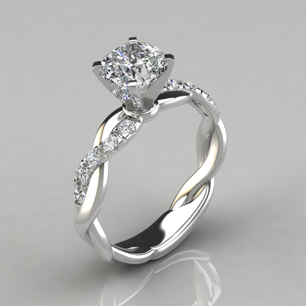 Sterling Silver Twist 1.0 CT Cushion Cut Engagement Ring