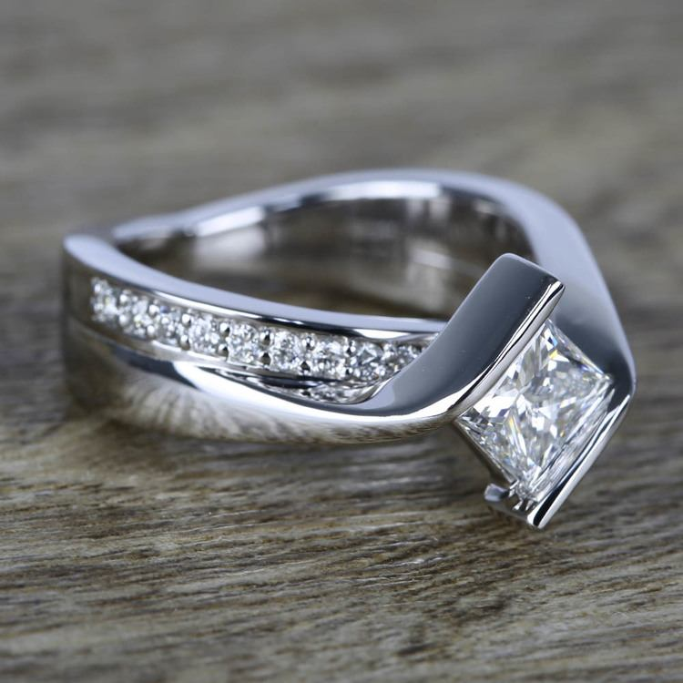 Bypass 2.0 Carat Princess Cut Engagement Ring Sterling Silver