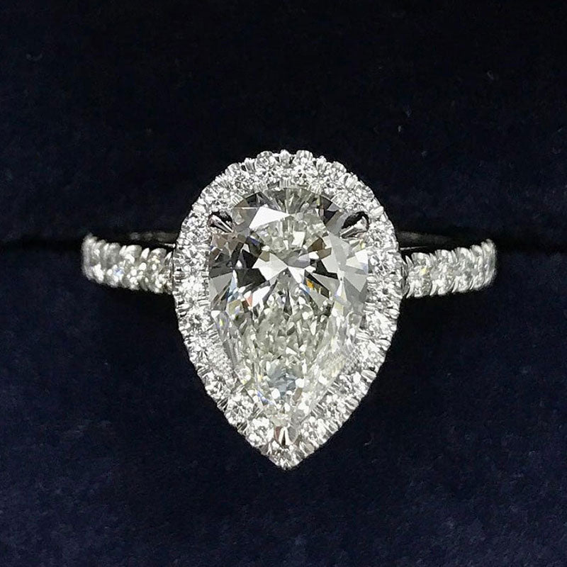 Stunning 3.0 Ct Halo Pear Cut Sterling Silver Women's Engagement Ring