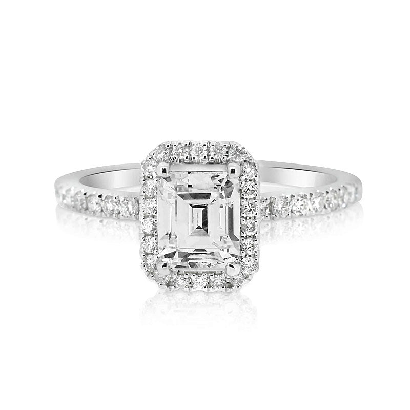 Classic 4.0 Ct Emerald Cut Sterling Silver Engagement Ring