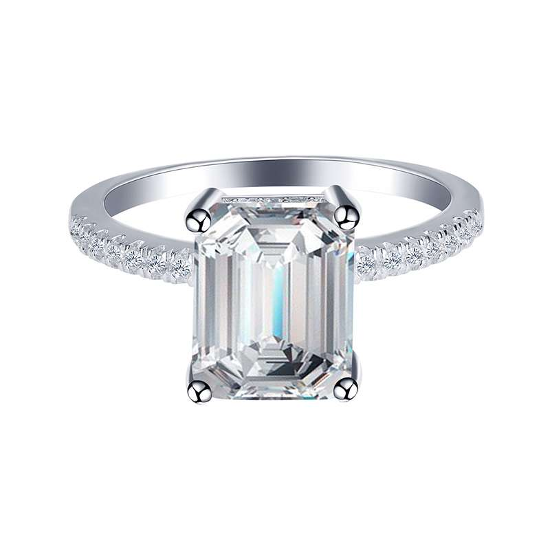 Gorgeous 2.0 Ct Emerald Cut Sterling Silver Ring engagement Ring