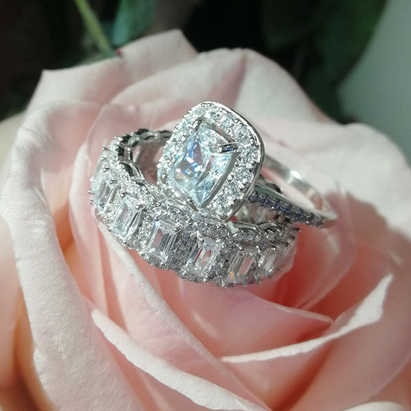 Jewmara 2.0 Ct Cushion Cut Sterling Silver Wedding Bridal Set