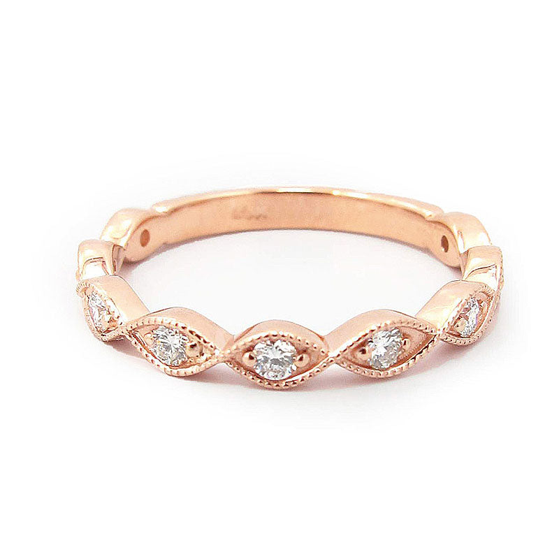 Jewmara Enternity Rose Gold Round Cut Women's Wedding Band