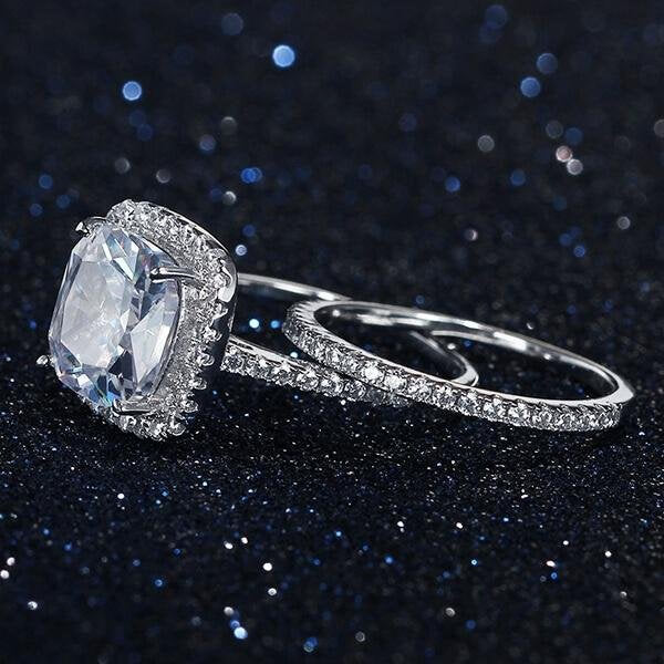 Sterling Silver Halo 5.0 CT Cushion Cut Wedding Ring Set