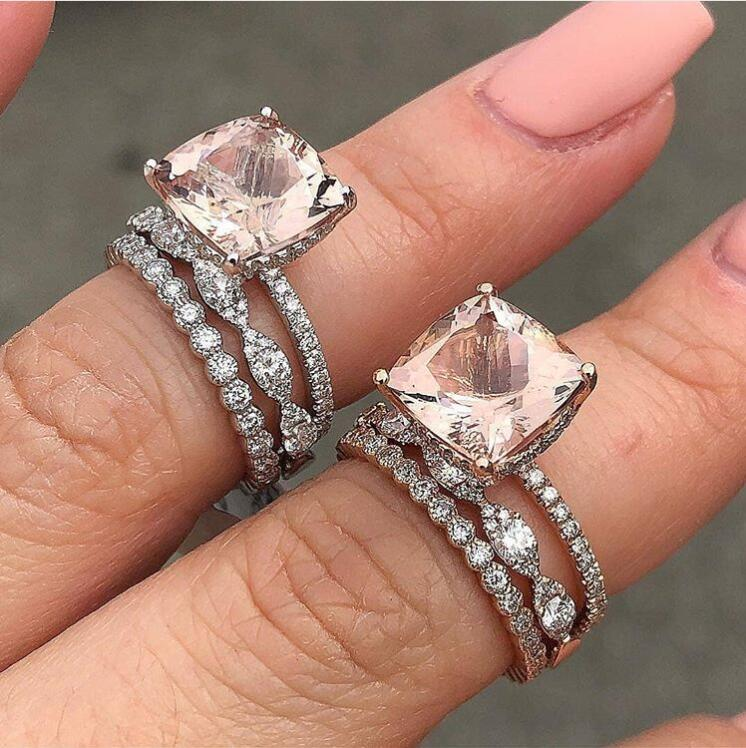 Rose Gold 4.0 CT Cushion Cut Champagne Sapphire Wedding Ring Set