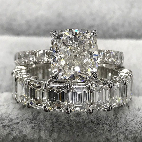 Jewmara Stunning 7.6 Ct Cushion and Emerald Cut Sterling Silver Wedding Ring Set
