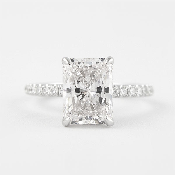 3.0 Ct Radiant Cut White Sapphire Sterling Silver Wedding Set