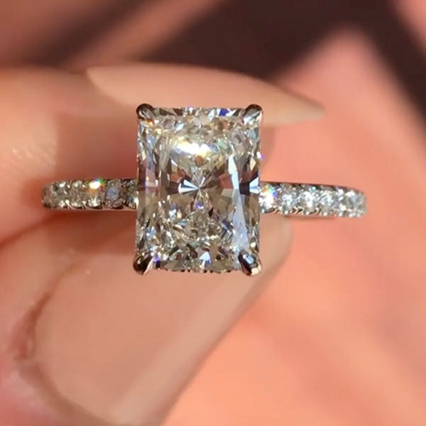 Jewmara 3.0 Ct Radiant Cut White Sapphire Sterling Silver Engagement Ring