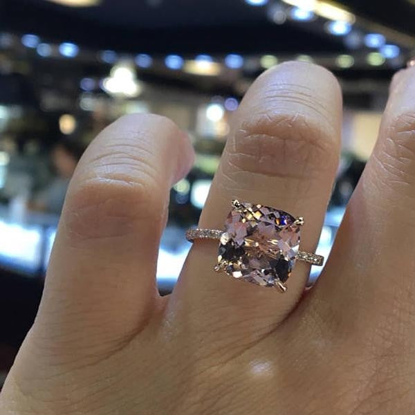 Passion 4.0 Ct Rose Gold Cushion Cut Sterling Silver Engagement Ring