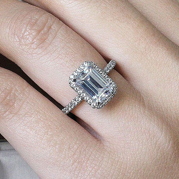 Jewmara 1.5 Ct Emerald Cut Sterling Silver Engagement Ring