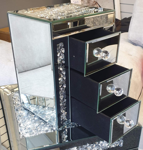 Crushed Diamond Mirrored 3 Drawer Jewellery Box