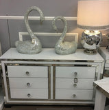 Annabelle White Mirrored Glass 6 Drawer Chest of Drawers