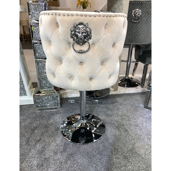 Valentino Plush Velvet Mink Barstool With Lion Knocker & Buttoned Back