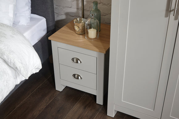 Lancaster 2 Drawer Bedside Cabinet in Grey With Oak Effect Tops