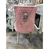 Luxury Majestic Premium French Pink Plush Velvet Dining Chair With Lion Knocker Back