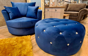 Plush Velvet Swivel Cuddle Chair + Matching Lux Pouffe With Diamanté Buttons - Royal Blue