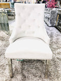 Luxury Majestic Premium French Silver Plush Velvet Dining Chair With Lion Knocker Back