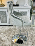 Majestic HQ Silver French Plush Velvet Bar Stool With Lion Knocker Back