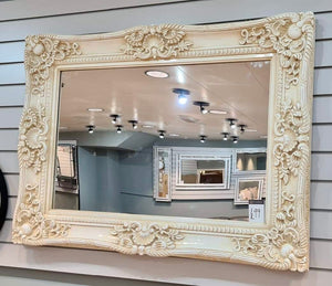 Antique Style Cream / Ivory French Ornate Wall Mirror 120cm x 90cm