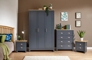 Lancaster 4 Piece Bedroom Set Including Triple Wardrobe Drawers And 2 Bedsides in Slate Blue With Oak Effect Tops