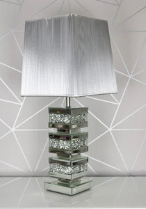 Crushed Diamond Mirrored Squared Blocks Layers Table Lamp