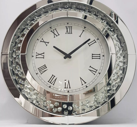 Floating Crystal Large Round Clock