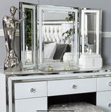 Annabelle Mirrored White Glass Freestanding Vanity Dressing Table Tri-Fold Mirror