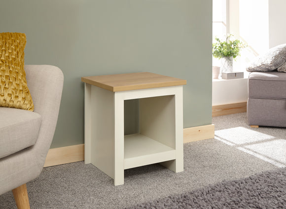 Lancaster Side Table With Shelf in Cream With Oak Effect Top