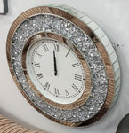 50x50cm Gatsby Crushed Diamond Mirrored Round Wall Clock