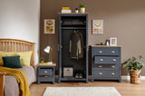 Lancaster 3 Piece Bedroom Set Including Wardrobe Drawers & Bedside In Slate Blue With Oak Effect Top