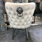 Valentino Premium French Mink Plush Velvet Dining Chair With Lion Knocker & Buttoned Back