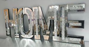 Bevelled Mirror 3D Gatsby Crushed Diamond Crystal HOME Letters Wall Mountable