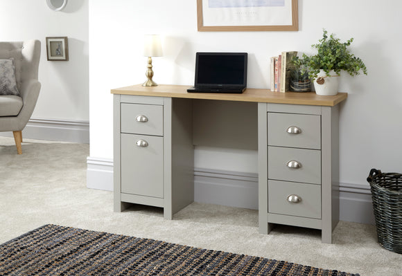 Lancaster Study Desk With Drawers in Grey With Oak Effect Top