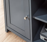 Lancaster Small TV Unit in Slate Blue With Oak Effect Top