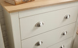 Lancaster 4 Piece Bedroom Set Including Triple Wardrobe Drawers And 2 Bedsides in Cream With Oak Effect Tops