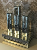 Gatsby Crushed Diamond Mirrored Triple Candle Holder