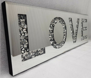 Gatsby Crushed Diamond Mirrored Word Deco LOVE Wall Plaque 2019 Design