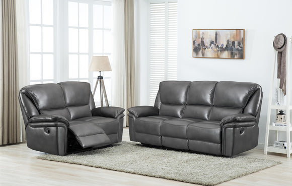 Boston Leather Air Grey Reclining Sofa Range