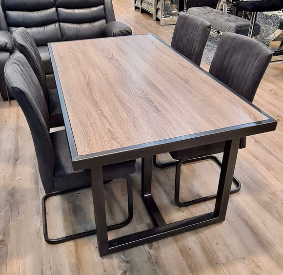 BERGEN MEDIUM INDUSTRIAL DINING TABLE + 4 MARLIN CANTILEVER GREY DINING CHAIRS
