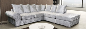 Crushed Velvet Royal Corner Sofa Complete With Footstool - Various Colours Available