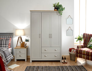 Lancaster 3 Door 2 Drawer Wardrobe in Grey With Oak Effect Tops