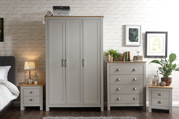 Lancaster 4 Piece Bedroom Set Including Triple Wardrobe Drawers And 2 Bedsides in Grey With Oak Effect Tops